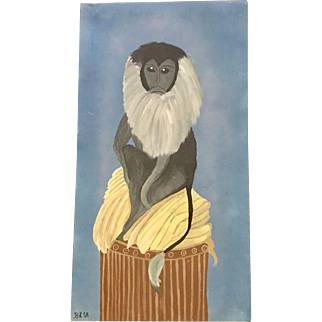 Painting of Bearded Monkey Signed BLSR