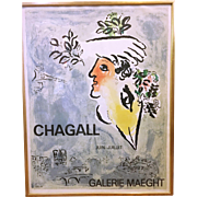 Chagall Lithographic Exhibition Poster 1964 by Mourlot