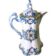 Magnificent Gilded Blue and White Chocolate Pot