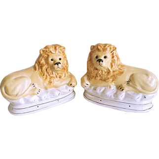 Pair of Staffordshire Style Large Ceramic Lions