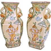 Large Peach Colored Hexagonal Asian Vases