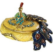 Colorful Peacock Trinket or Pill Box