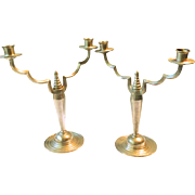 Art Deco Pewter Candlesticks