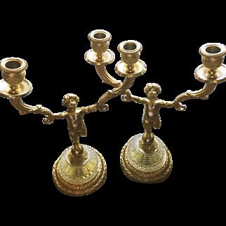 Dore Bronze Putti Candle Holders