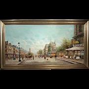 """""""Parisian Street Scene"""", Impressionist Painting, Rene 1959, Oil on Canvas"""