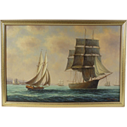 """""""Sailing Vessels Off The Coast"""", Maritime Painting by James Hardy, Oil on Masonite"""