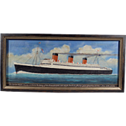 """The Queen Mary"", Maritime Painting by P.A. Reeves, Oil on Canvas"