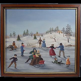 """Figure Skating on a Pond"", Winter Folk Art Piece by Martha Farham Cahoon, Oil on Masonite"
