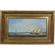 """Steady Breeze Off West Chop"" by William R. Davis, Seascape / Maritime Oil on Canvas Painting"