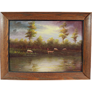 """Ecuadorian Savannah"", Landscape Piece by F. Racquel Moncayo, Oil on Masonite"