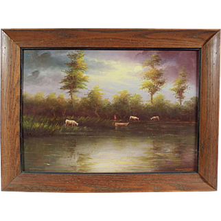 """Ecuadorian Savannah"", Landscape Piece by F. Racquel Moncayo, Oil on Masonite"