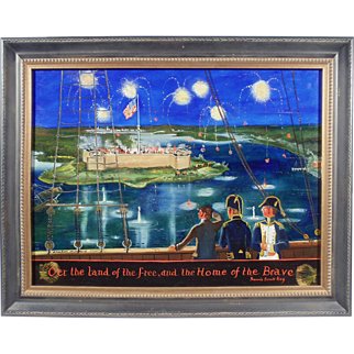 """O'er the Land of the Free"", Folk Art Painting by Elizabeth Mumford, Oil on Masonite"