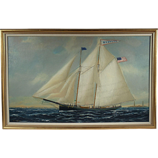 "The Yacht ""Hustler"", Maritime Painting by William Pierce Stubbs, Oil on Canvas"