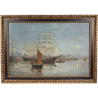 """Pagoda Harbor"", Maritime Painting by P. Kilner, Oil on Canvas"