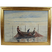 """Three Fishermen"", Maritime Painting Initialed C.V.J, Oil on Canvas"