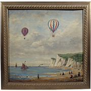 """Hot Air Balloons"", Impressionistic Painting by P. Michel, Oil on Wood Panel"