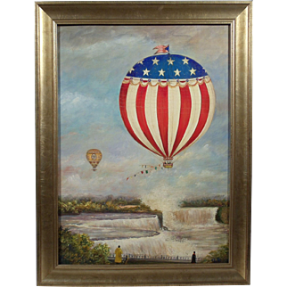 """Balloons over Niagara Falls"", Painting Initialed J.B., Oil on Wood Panel."