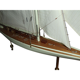 """The Yacht """"Rainbow"""", Ship Model Encased in Glass"""