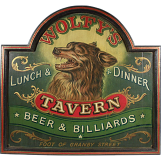 """Wolfy's Tavern"", Vintage Advertising Sign"