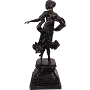 """Dancing Lady"", Bronze Sculpture with Marble Base"