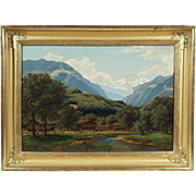 """Swiss Alpine Landscape"", 19th Century Painting by F. Pauli, Oil on Canvas"