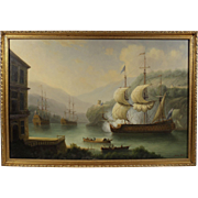 """""""British Ships on The Thames"""", 20th Century Maritime Painting by James Hardy, Oil on Masonite"""