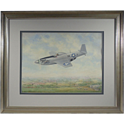 """""""P-51 Farm Boy"""", 20th Century Painting by Eric Childes, Oil on CardBoard Under Glass"""