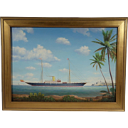 "Steam Yacht ""Viento Justo"", Contemporary Maritime Painting by Graham Flight, Oil on Masonite"