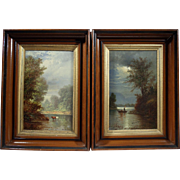 """""""Sunset"""" and """"Sunrise"""", Set of 19th Century Landscape Paintings by Franklin D. Briscoe, Oil on Wood Board"""