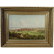 """""""Towne on The Hudson River"""", 19th Century Painting by William R. Miller, Oil on Canvas"""