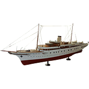 "Yacht ""Noparo"", Large Ship Model Encased in Glass"