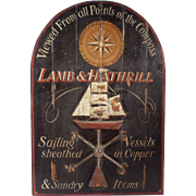 "Vintage Maritime Advertising Sign for ""Lamb and Hathrill"",  Painted Wood With Copper Fixtures"