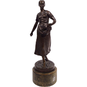 """Woman Sowing Grain"", Bronze Sculpture by Adolf Muller-Crefeld"