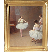 """Ballerinas"" by Fanny Fleury, Late 19th to Early 20th Century Painting, Oil on Canvas"