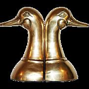 Brass Mallard Duck Bookends, Pair