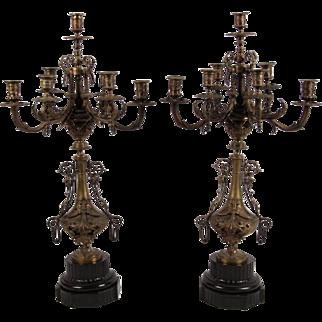 19th Century Bronze Candelabras