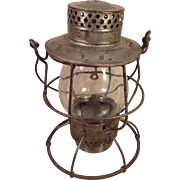 Dietz No 39 Vulcan Railroad Lantern Silver Colored New York Clear Glass Shade