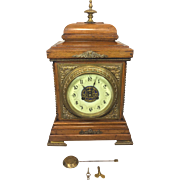 Antique Fritz Marti Brass & Wood Bracket Clock Beautiful Wood Case Porcelain Face Runs & Strikes Circa 1870s French Made