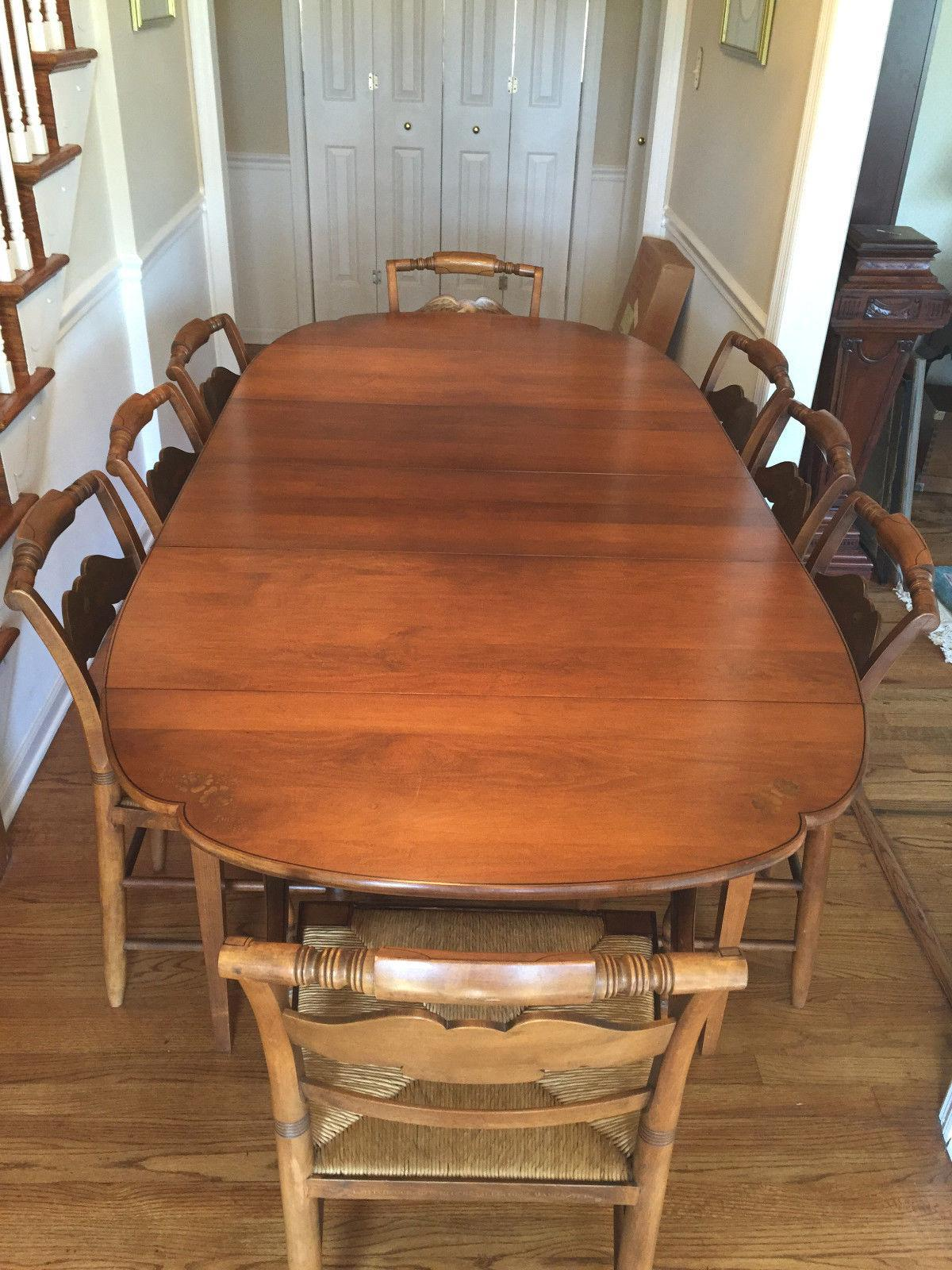 Vintage Hitchcock Dining Set Table 2 Leaves & 6 Chairs Rush