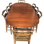 Vintage Hitchcock Dining Set Table (2 Leaves) & 6 Chairs Rush Seats Eagle Stenciling