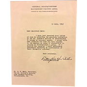 SALE Douglas MacArthur July 12 1943 Acceptance Letter Honorary Member St. Andrew's Society