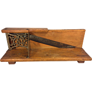 Antique Tucker & Dorsey Slicer Wood Legs Blade In Place Decorative Metal Handle & Metal Scrollwork