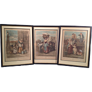3 Antique Wheatley Cries of London Engravings Framed and Matted Plates 2 7 and 8