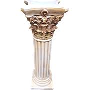 Vintage Plaster Pedestal for Displaying Items Antique White and Gold Colored Nice Details