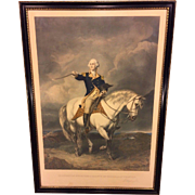 Antique Colored Lithograph George Washington Receiving a Salute on Field in Trenton  by William Holl 1860s