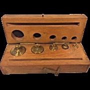 Set of Arthur Thomas Brass Scale Weights in Wood Case Philadelphia PA