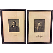 Antique Prints of Lewis Cass and Admiral William Bainbridge Framed