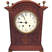 Antique German Bracket Clock Brass Finials  Inlaid Wood Case Brass Feet No Pendulum Not Running 18 CM in Script on Back Plate of Mvmt  Great Project Clock for the Right Person