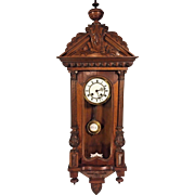 Antique Gustav Becker Vienna Wall Regulator Clock Time & Strike Nice Wood Case Runs 1873-1874