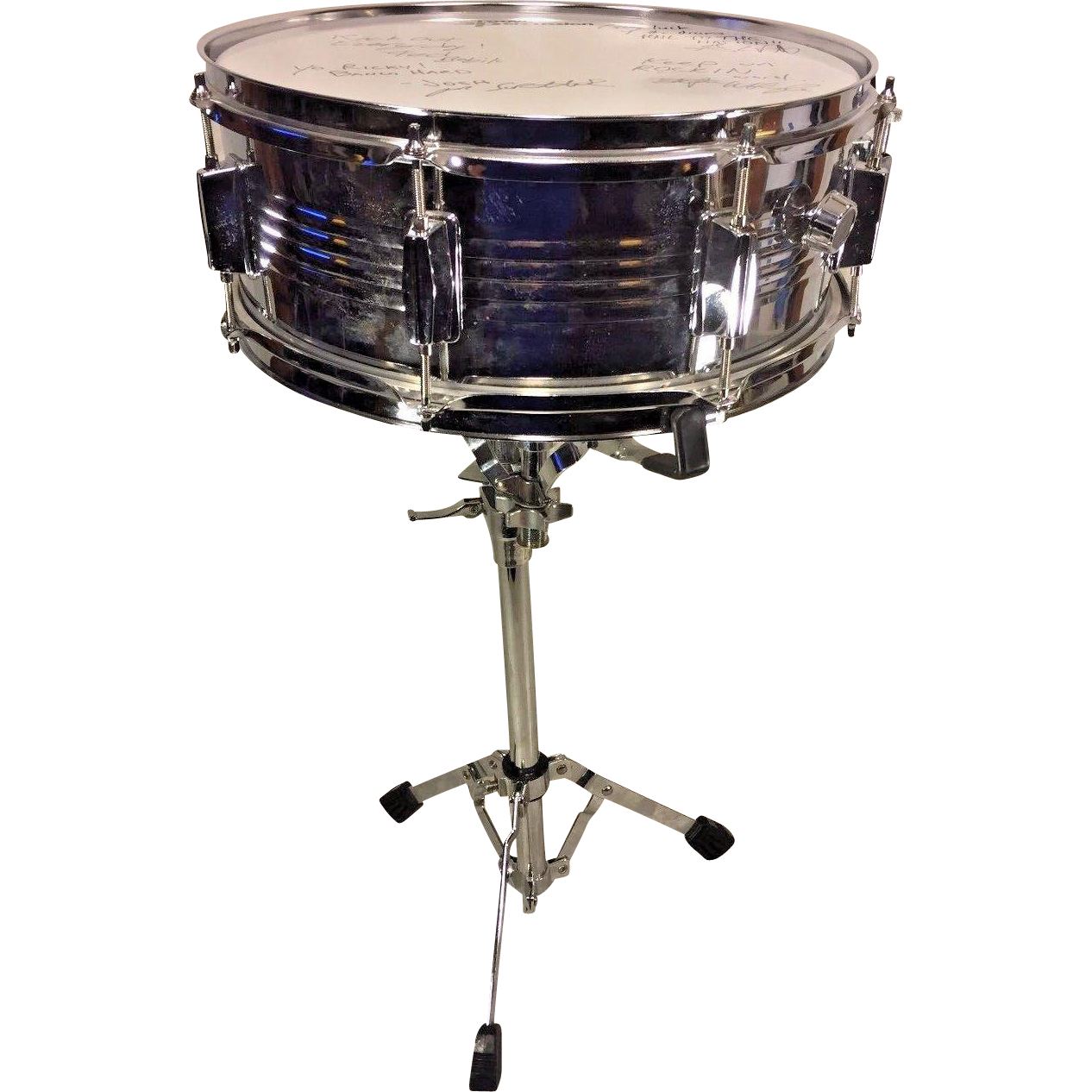 Groove Percussion Snare Drum Case & Stand Head Signed by ...